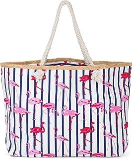 styleBREAKER XXL Strandtasche mit Streifen Flamingo Print und Reißverschluss, Schultertasche, Shopper, Damen 02012252, Far...