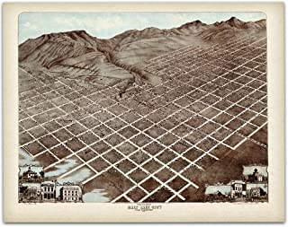 1870 Salt Lake City Map - 11x14 Unframed Art Print - Great Vintage Home Decor, Also Makes a Great Gift Under $15