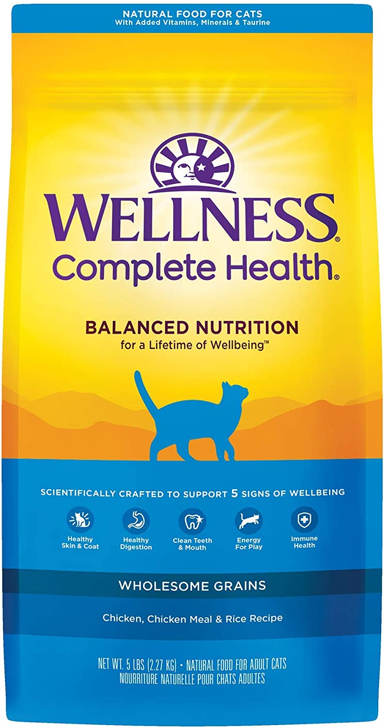 Wellness Complete Health Dry Cat Food with Grains, Chicken & Chicken Meal Recipe, 5 Pound Bag