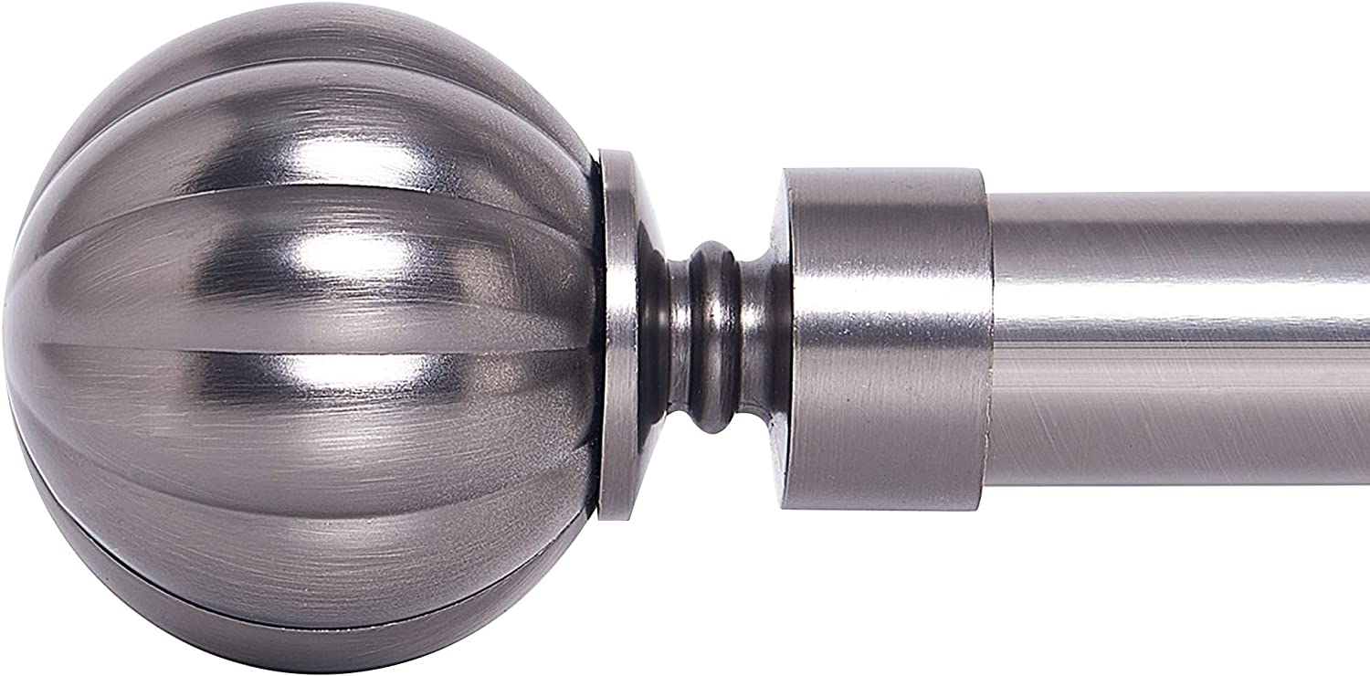 NICETOWN 1 1/8 inch Diameter Drapery Window Curtain Rod Set with Decorative Petal Ball Caps, Adjustable Length from 28 to 48-Inch, Gunmetal