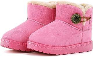 KKIDSS Girls Boys Warm Cute Button Bailey Snow Boots Comfortable Casual Winter Flat Shoes (Toddler/Little Kid)
