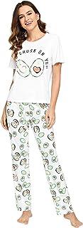 DIDK Conjunto de pijama con estampado de gato y pantalones de lunares para mujer