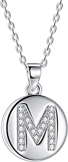 J.Endéar Letra Inicial A ~ Z Collar Plata de Ley 925 Disco Zirconia Letra Colgante para Mujer Joyería Personalizada, Longi...