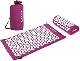 INTTEY Acupressure Mat and Pillow Massage Set Ideal for Back/Neck Pain Relief & Muscle Relaxation, Sleep Aid with Carrying...