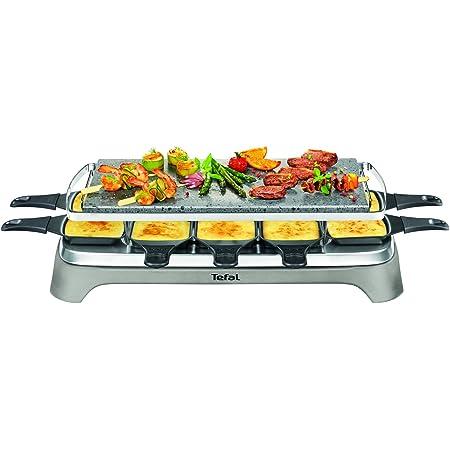 Tefal PR457B12 Pierrade Raclette, 1350 watts, Plaque de cuisson en pierre + 10 poêles à revêtement antiadhésif, y compris grattoir, câble détachable, gris