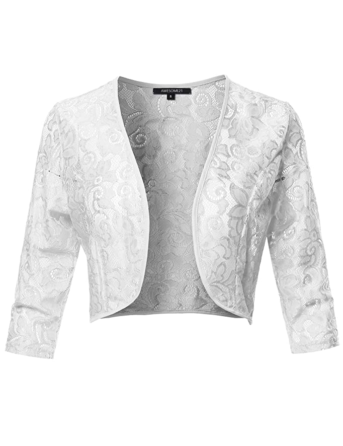 Women's Solid Floral Lace Shrug Open Front Cardigan Outerwear - Made in USA