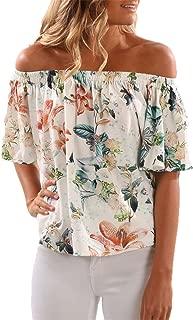 Womens Off The Shoulder Tops Floral Shirt Chiffon Blouse Short Sleeve Flowy Summer T Shirts