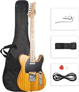 """GLARRY 39 """"GTL Electric Guitar for Music Lover، SS Pickups Maple Fingerboard with Accessories Pack Bag Guitar (Transparent Yellow)"""