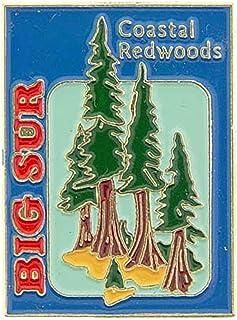 """Original Famous Pins & Lapels Usa States, California Big Sur Coastal Redwoods - Original Artwork, Expertly Designed Pin - 1"""""""