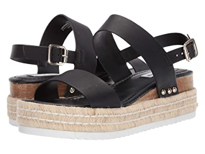 Steve Madden Catia Wedge Sandal (Black Leather) Women