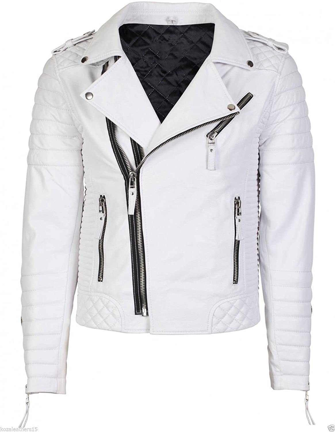 Erha Accessories Women's Kennedy Quilted Asymmetrical Cropped Biker White Leather Jacket