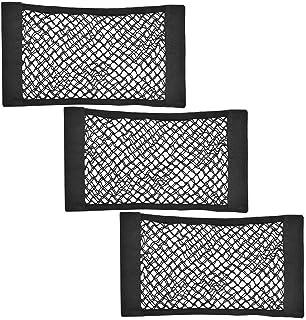 Daimay Kofferraum Organizer mit Klett 3 Stück Autonetz Universal Netztasche Aufbewahrungskiste Veranstalter Auto Aufbewahrungs Tasche Halterung Schutznetz aus Nylon   Schwarz (25×40cm)