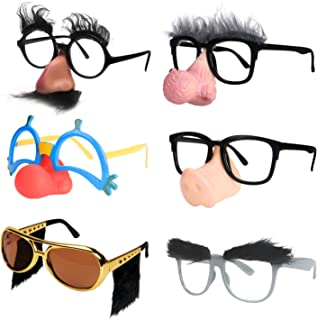 Ocean Line Funny Disguise Glasses, Groucho Marx Mustache Glasses, 6 Pairs Novelty Clown Costume Eyeglasses with Soft Nose ...