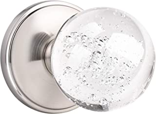 Orger Clear Crystal Interior Door Knob, Passage Door Knob for Hall and Closet, Round Clear Bubble Ball Glass Door Handle w...