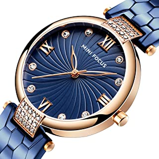 Nuffunx Women's Watch Fashion Analog Quartz Watches with Stainless Steel Waterproof Wristwatch Casual Watch Dress Gift Watch Ladies (Blue & Rose Gold)