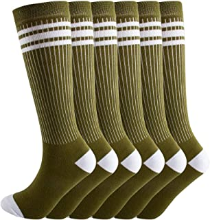 NEVSNEV Knee High Tube Socks Comfortable and Breathable with Triple Stripes for Boys, Girls, Toddlers, Kids, Baby and Child