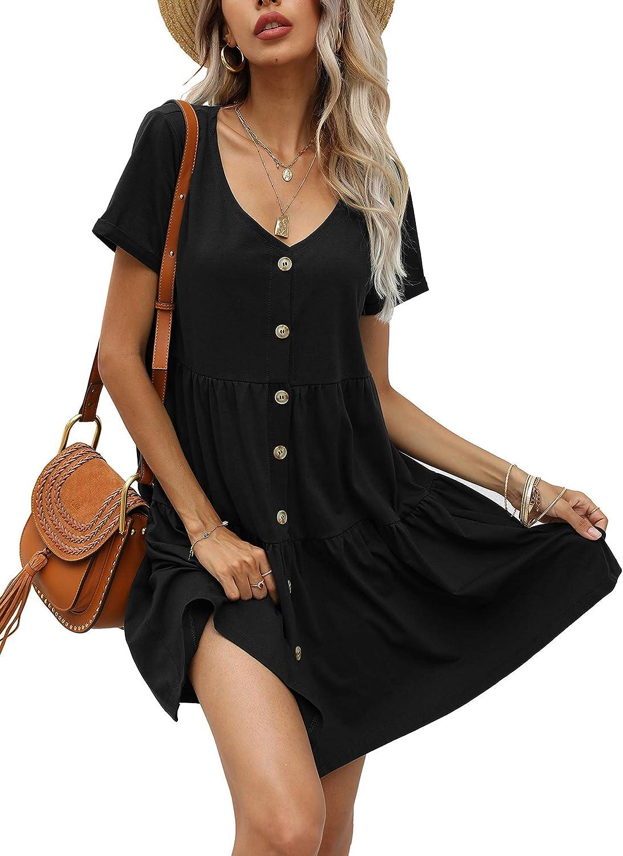 Aifer Women's Short Sleeve Mini Dress Button Down Casual Loose Swing Babydoll Dress