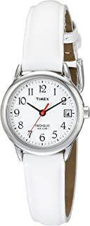 Women's T2H391 Indiglo Leather Strap Watch, White/Silver-Tone