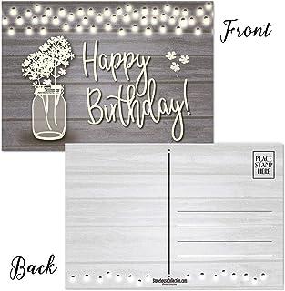 "Rustic Birthday Postcards - Set of 50 Postcards - 4"" x 6"" Postcards (Rustic Jar)"