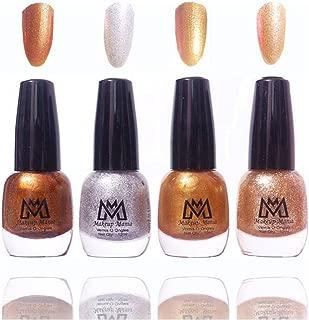 Makeup Mania Premium Nail Polish Fine Zari Nail Paint Combo (Brown, Silver, Golden, Pack of 4)