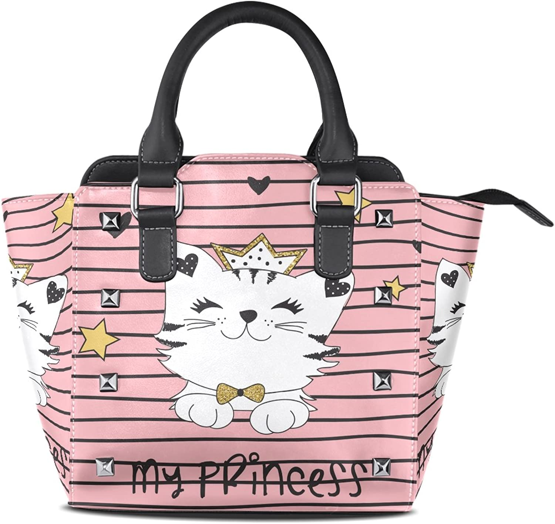My Little Nest Women's Top Handle Satchel Handbag Cute Princess Cat Pink Ladies PU Leather Shoulder Bag Crossbody Bag