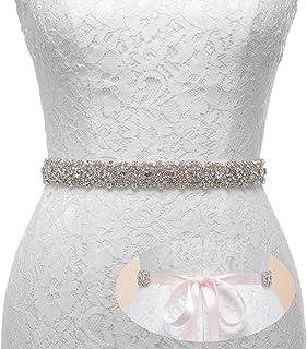 Remedios Rhinestone Bridal Belt Bridesmaid Sash Crystal Wedding Belt Women Dress Accessories,