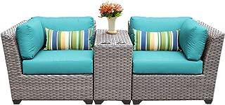TK Classics FLORENCE-03b-ARUBA 3 Piece Outdoor Wicker Patio Furniture Set, Aruba
