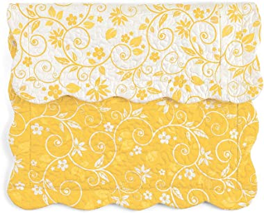 Collections Etc Reversible Floral Scroll Pillow Sham Yellow Sham, Yellow, Sham