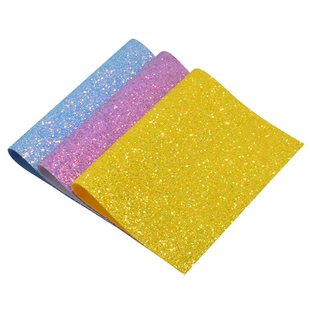 Chunky Glitter Fabric Sheets- 3 Pieces Solid Color 8