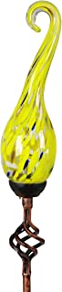 Exhart Solar Garden Stake Lights – Solar Glass Yellow Flame Garden Stakes in a Variety of Colors – Handblown Glass Finial Lights, LED Accent Lights That Transform a Garden Driveway or Event (9in)
