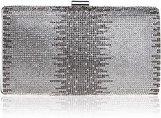 Ladies New Crystal Rhinestones Diamond Evening Dress Clutch Bag Evening Bag/Banquet Bag/Chain Bride Bag Black/White/Silver. jszzz (Color : Silver)
