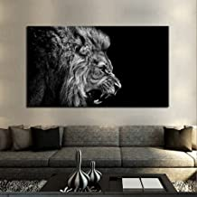 FOECBIR Black and White Authority Lion Head Portrait Wall Art Painting Pictures Print On Canvas HD Animal Art Work for Living Room Home Modern Decoration(24x42inch)