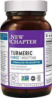 New Chapter Turmeric Supplement + Sleep Aid - Turmeric Force Nighttime for Sleep Support with Valerian Root + Ginger + NO ...