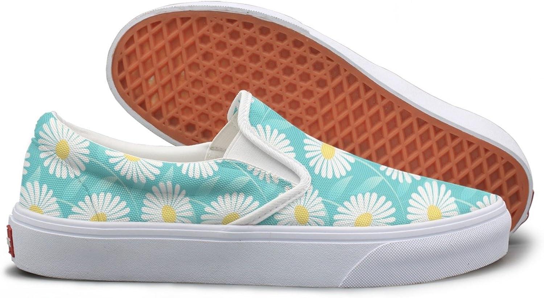 SEERTED bluee Daisy Flower Womens Slip On Sneakers