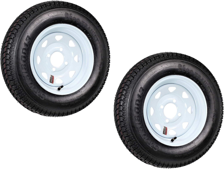 2-Pack Trailer Tire Elegant On Rim ST175 80D13 175 4 Load C 80 13 Bombing new work Lug D