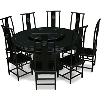 Amazon Com Chinafurnitureonline Rosewood Asian Dining Table 8 Tall Chairs 66 Inch Round Longevity Black Table Chair Sets