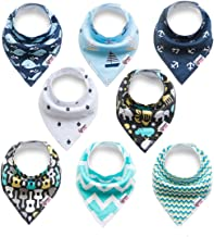 BC034 Baby Bandana Drool Bibs Organic 8 Pack 100/% Absorbent Soft Cotton Bandana Baby Bibs for Boys and Girls Newborn Infant Toddler Baby Gifts