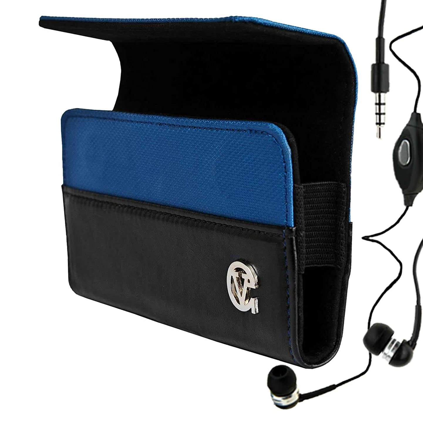 Portola Blue with Luxury Lining Hard Cover Samsung Infuse 4G Leather Case for Samsung Infuse 4G Android Phone (All Models , AT&T , Unlocked Phone Smartphone i997 ) + Compatible Samsung Infuse 4G Earbud Earphones with Microphone