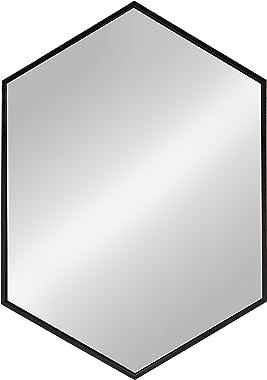 Kate and Laurel McNeer Large Hexagon Metal Wall Mirror, 31x22, Black
