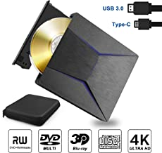 External Blu ray DVD Drive 3D 4K, Slim external bluray Bluray writer USB 3.0 & Type-C CD DVD bruner Blu ray Reader player recorder combo for Windows XP 7 8 10,Vista, MacOS for Macbook, Laptop, Desktop