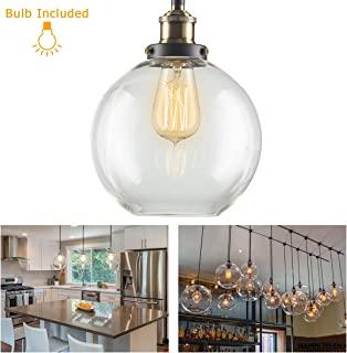 Vintage Pendant Hanging Light with E26 Edison Bulb, Jeffrien Retro Modern Glass Ball Lamp Shape Loft Ceiling Lighting Fixture with Brass Finished for Office Bedroom Kitchen Restaurant Coffee Shop