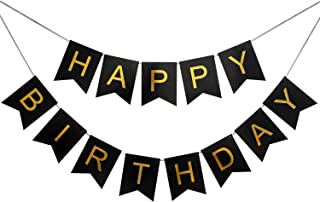 LOVELY BITON Large Black Happy Birthday Wall Banner, Black Party Decorations, Versatile, Beautiful, Swallowtail Bunting Fl...