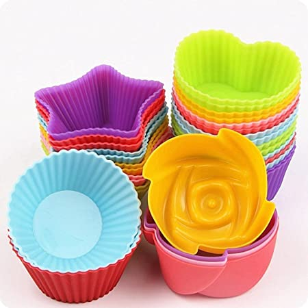 ROYALS Silicone Mix Shapes Muffin Cupcake Jelly Dhokla Idli Moulds (Random Colour) - Pack of 8 Pieces