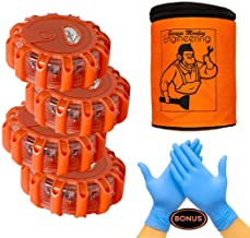 Garage Monkey Engineering LED Road Safety Flare Roadside Warning Safety Flare Kit for Vehicles & Boat | 4 Beacon Disc Pack