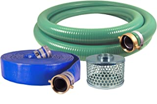 "JGB Enterprises Eagle Hose PVC/Aluminum Water/Trash Pump Hose Kit, 3"" Green Suction Hose Coupled M x F WS, 3"" Blue Discharge Hose Coupled M x F WS, 29 Vacuum Rating, 70 PSI Maximum Temperature, 25' Length, 3 ID"