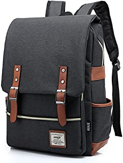 Mn&Sue British Style Mens Laptop Backpack College School Backpack Rucksack Fit for 15 inch Laptop- Black