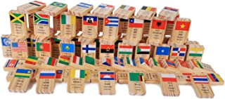 3D Puzzle Wood - 100 Pieces New Multilingual National Flag Domino Wooden Toys Understanding of The World Domino Early Education, A21