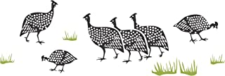 """Guinea Fowl Stencil - (size 18""""w x 6.5""""h) Reusable Wall Stencils for Painting - Best Quality African Wall Border Ideas - Use on Walls, Floors, Fabrics, Glass, Wood, Terracotta, and More…"""