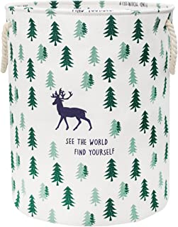Jacone Large-Size Cute Deer and Trees Pattern Design Laundry Hamper Cotton Fabric Cylindric Storage Basket with Rope Handles, Decorative and Convenient for Kids Bedroom