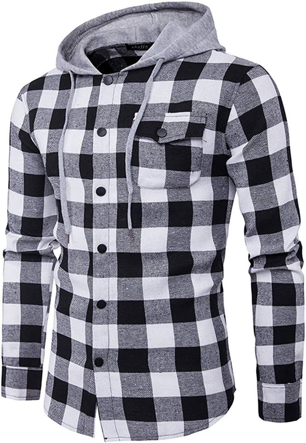Wholesale Usopu Usopu Usopu Men's Casual Daily Plaid Hooded Long Sleeve Shirt  hot sale